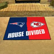 New England Patriots/Kansas City Chiefs House Divided Mat