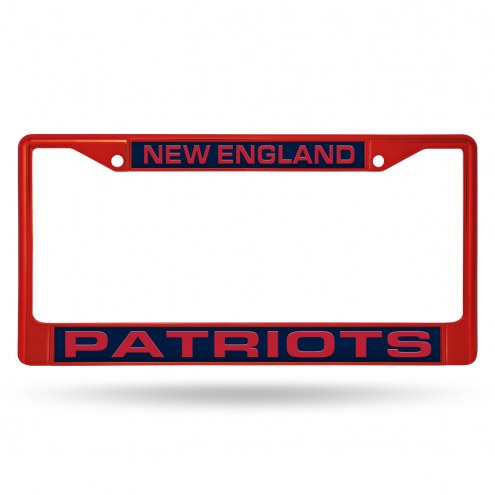 New England Patriots Laser Colored Chrome License Plate Frame