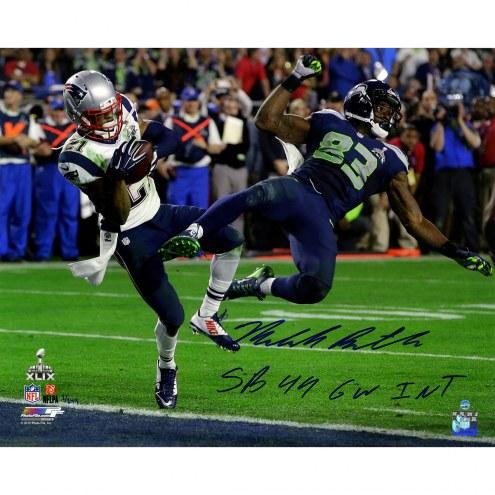"New England Patriots Malcolm Butler Metallic Super Bowl 49 INT w/ ""GW INT SB 49"" Signed 16"" x 20"" Photo"