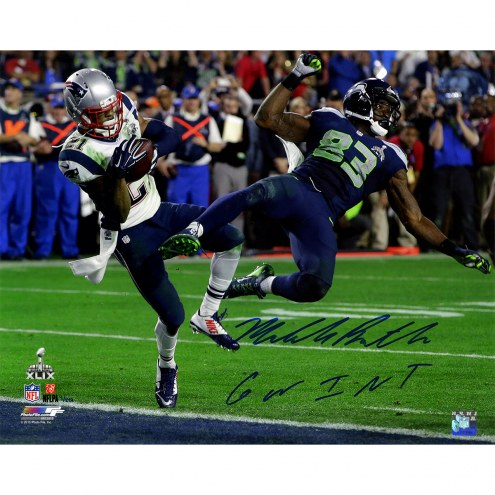 """New England Patriots Malcolm Butler Super Bowl 49 INT w/ """"GW INT"""" Signed 16"""" x 20"""" Photo"""