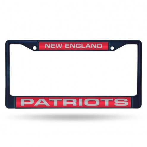 New England Patriots Navy Laser Colored Chrome License Plate Frame