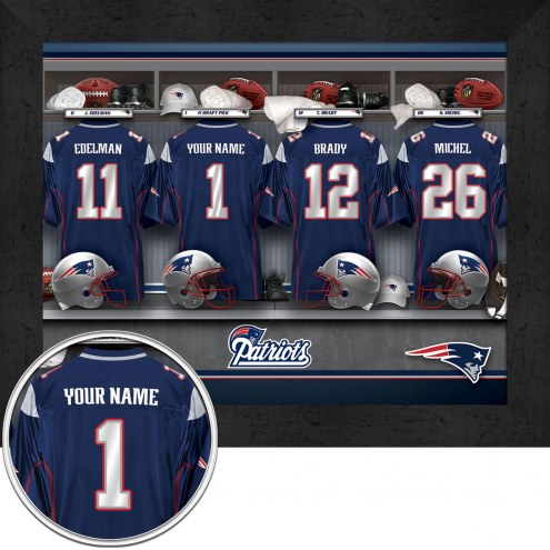 New England Patriots NFL Personalized Locker Room 11 x 14 Framed Photograph
