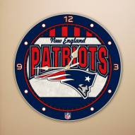 New England Patriots NFL Stained Glass Wall Clock