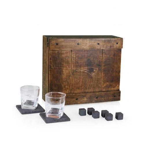 New England Patriots Oak Whiskey Box Gift Set