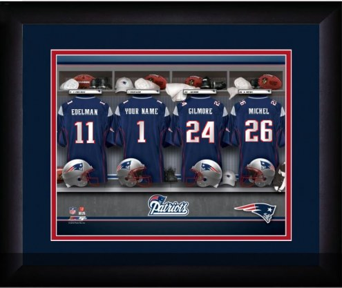 New England Patriots Personalized Locker Room 13 x 16 Framed Photograph
