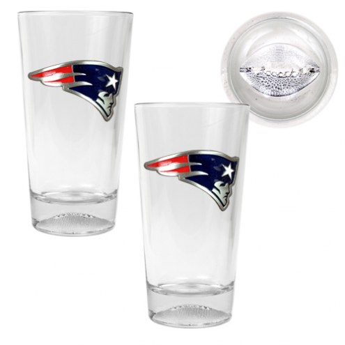 New England Patriots Pint Glass with Football Bottom - Set of 2