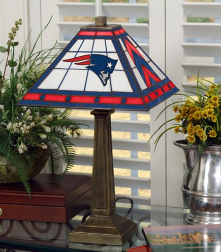 New England Patriots Stained Glass Mission Table Lamp