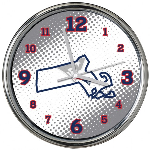 New England Patriots State of Mind Chrome Clock