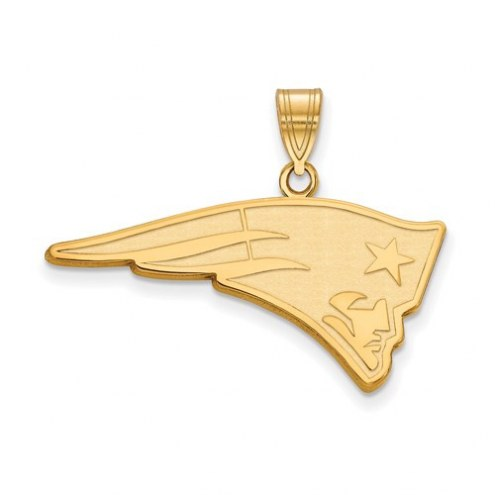 New England Patriots Sterling Silver Gold Plated Large Pendant