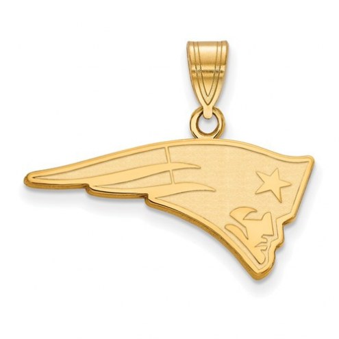 New England Patriots Sterling Silver Gold Plated Medium Pendant