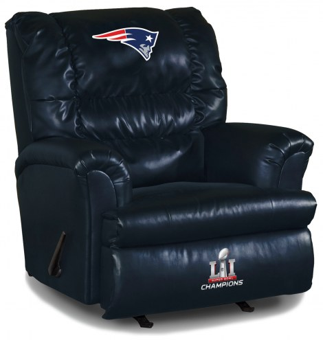 New England Patriots Super Bowl Big Daddy Blue Leather Recliner