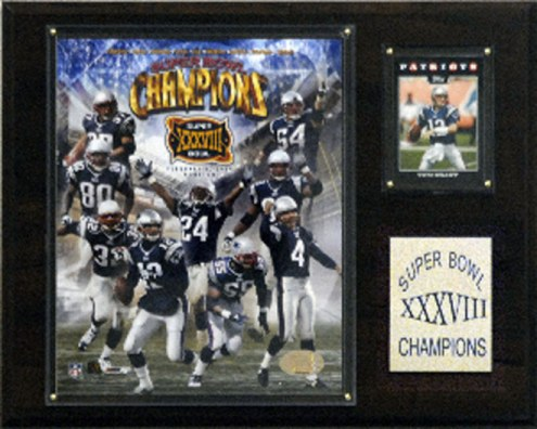 "New England Patriots 12"" x 15"" Super Bowl XXXVIII Champions Plaque"