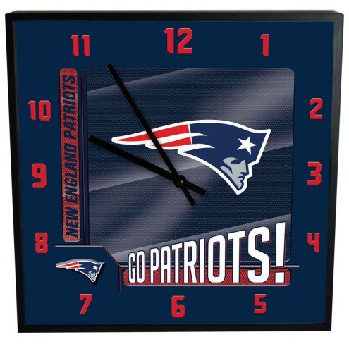 New England Patriots Team Black Square Clock