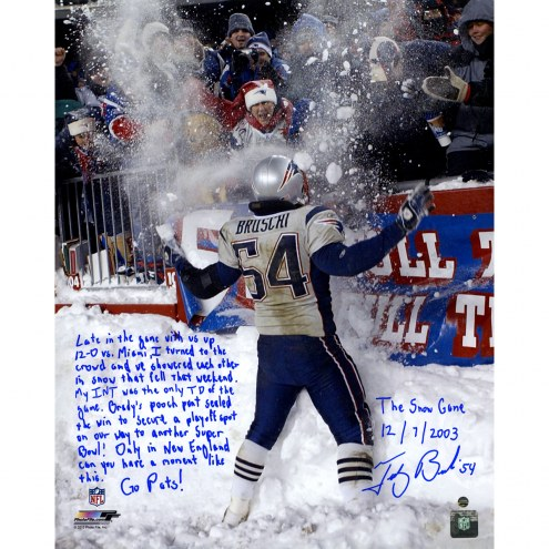 """New England Patriots Tedy Bruschi Snow Game and Super Bowl Story Signed 16"""" x 20"""" Photo"""