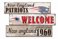 New England Patriots Welcome 3 Plank Sign