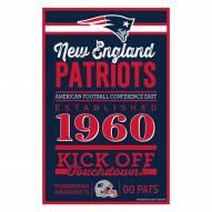 New England Patriots Established Wood Sign