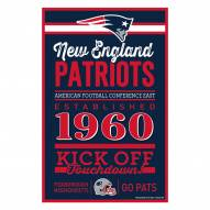 New England Patriots Established Wood Sign