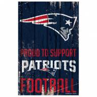 New England Patriots Proud to Support Wood Sign