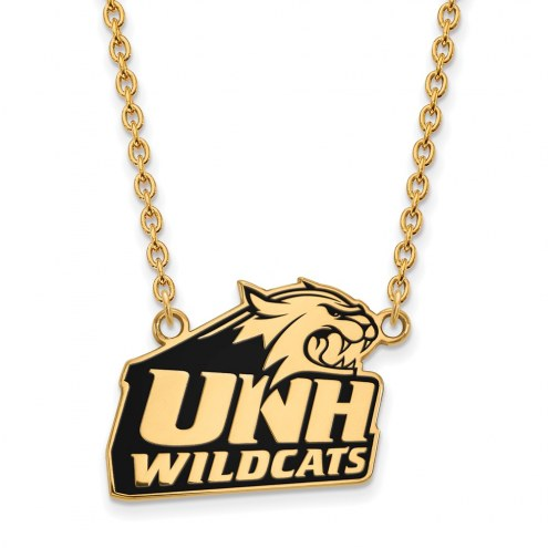 New Hampshire Wildcats Sterling Silver Gold Plated Large Enameled Pendant Necklace