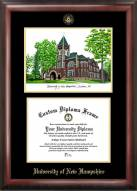 New Hampshire Wildcats Gold Embossed Diploma Frame with Campus Images Lithograph