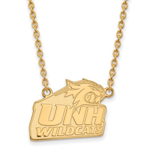 New Hampshire Wildcats Sterling Silver Gold Plated Large Pendant Necklace