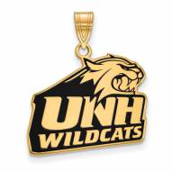 New Hampshire Wildcats NCAA Sterling Silver Gold Plated Large Enameled Pendant