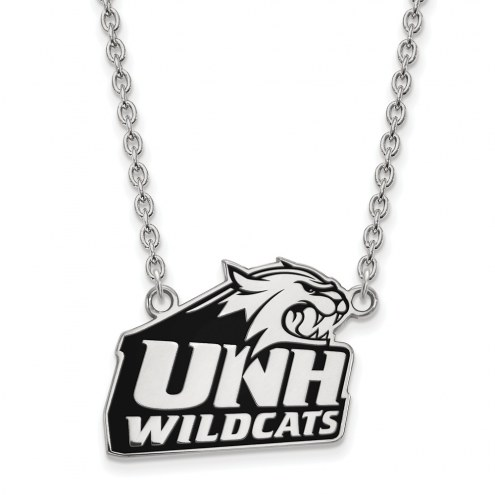 New Hampshire Wildcats Sterling Silver Large Enameled Pendant Necklace
