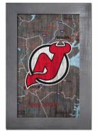 "New Jersey Devils 11"" x 19"" City Map Framed Sign"