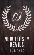 "New Jersey Devils 11"" x 19"" Laurel Wreath Sign"