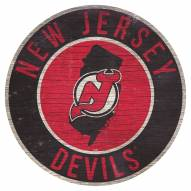 """New Jersey Devils 12"""" Circle with State Sign"""