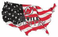 """New Jersey Devils 15"""" USA Flag Cutout Sign"""