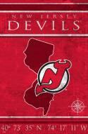 "New Jersey Devils 17"" x 26"" Coordinates Sign"