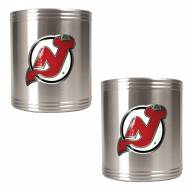 New Jersey Devils 2-Piece Stainless Steel Can Koozie Set - Primary Logo