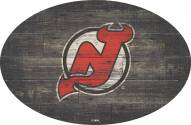 """New Jersey Devils 46"""" Distressed Wood Oval Sign"""