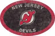 "New Jersey Devils 46"" Team Color Oval Sign"
