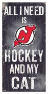 "New Jersey Devils 6"" x 12"" Hockey & My Cat Sign"