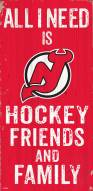 """New Jersey Devils 6"""" x 12"""" Friends & Family Sign"""