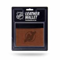 New Jersey Devils Brown Leather Trifold Wallet