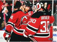 New Jersey Devils Bryce Salvador Signed 8 x 10 Photo with Martin Brodeur