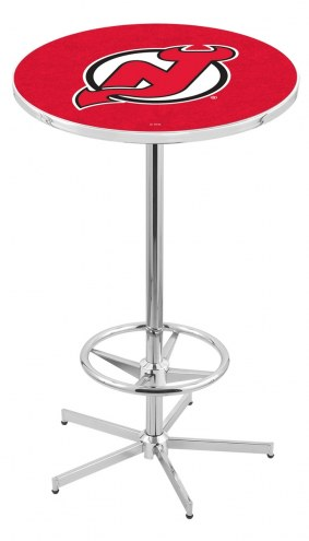 New Jersey Devils Chrome Bar Table with Foot Ring