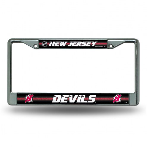 New Jersey Devils Chrome Glitter License Plate Frame