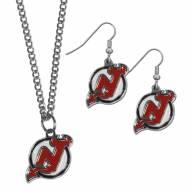 New Jersey Devils Dangle Earrings & Chain Necklace Set