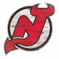 New Jersey Devils Distressed Logo Cutout Sign
