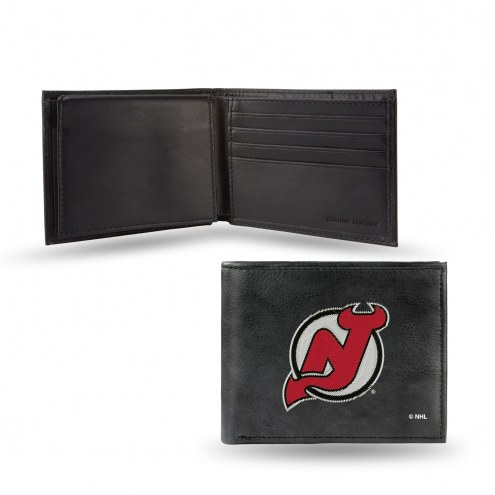 New Jersey Devils Embroidered Leather Billfold Wallet
