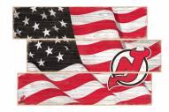 New Jersey Devils Flag 3 Plank Sign