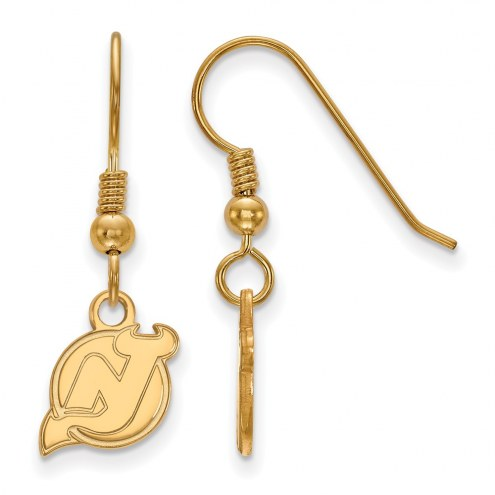 New Jersey Devils Sterling Silver Gold Plated Extra Small Dangle Earrings