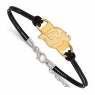 New Jersey Devils Gold Plated Sterling Silver Leather Bracelet