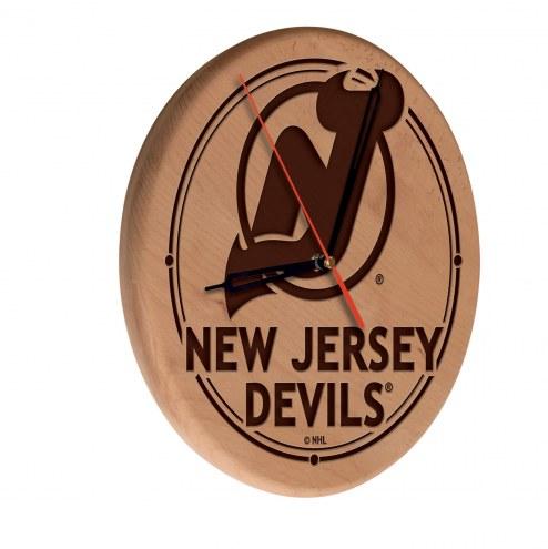 New Jersey Devils Laser Engraved Wood Clock