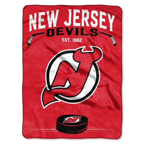 New Jersey Devils Inspired Plush Raschel Blanket