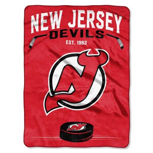 New Jersey Devils Inspired Plush Raschel Blanket